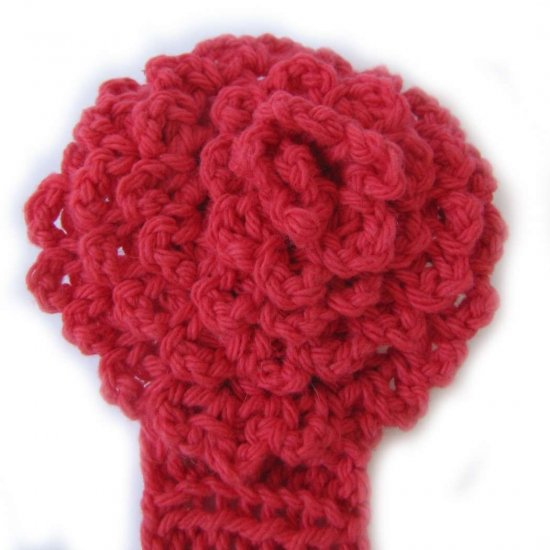 KSS Red Knitted Headband with Red Flower 14 - 16""