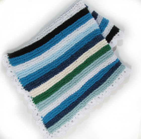 KSS Large Blue/White Squares Baby Blanket Newborn and up