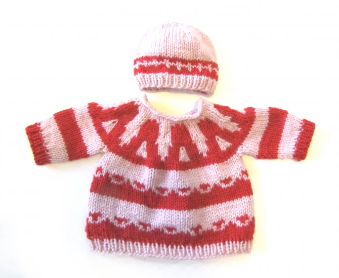 KSS Pink/Red Baby Pullover Sweater with a Hat (9-12 Months)