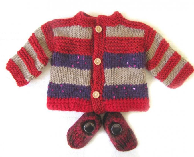 KSS Red/Grey Sweater/Cardigan with Booties 12 Months