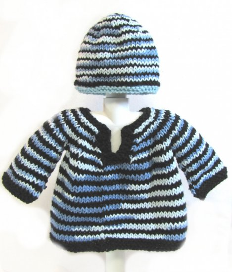 KSS Striped Pullover Baby Sweater with a Hat (9 Months)