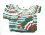 KSS Green/Copper Striped Toddler Sweater Vest/Hat/Socks (3-4 Years) KSS-SW-854-ET