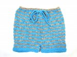 KSS Short Pants in Aqua/Taupe Cotton (6 - 9 Months) KSS-PA-066