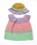 KSS Crocheted Green/Tangerine Dress & Hat 12 Months