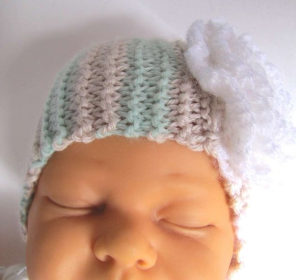 "KSS Sand & Seafoam Headband with Flower 12-13"" (0-6 Months)"