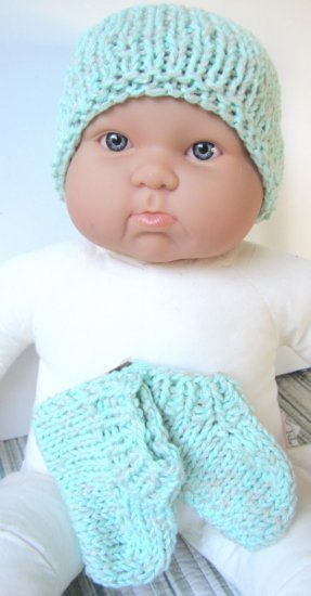 KSS Aqua Green Knitted Booties and Hat set (6 Months) - Click Image to Close