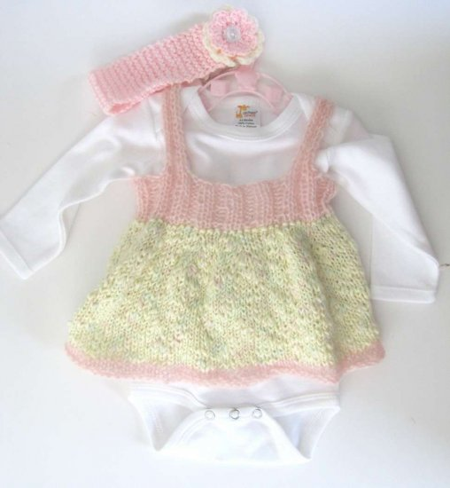 KSS Pink and Yellow Knitted Dress, Onesie and Headband 3 - 9 months