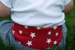 Liten Jag Gray Velour Pants with Stars on Red 6 - 12 Months