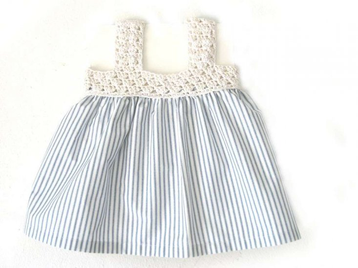 KSS Cotton Dress Off white/Navy 24 Months
