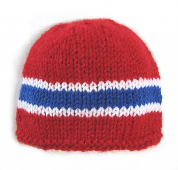 KSS Red Beanie with Norwegian Colors 15-17 inch (6-24 Months)