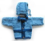 KSS Blue Baby Sweater/Cardigan & Hat (3-6 Months) SW-954