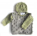 KSS Greenish Grey Toddler Pullover Popcorn Sweater & Hat 2T SW-953