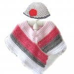 KSS Pink, Grey & White Striped Poncho 0 - 6 Years KSS-PO-005-EBK