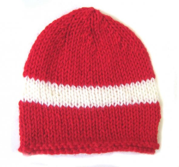 KSS Red Beanie with Danish Colors 12-14 inch (0-6 Months)