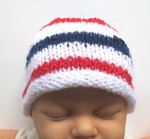 "KSS White Beanie with a US Colors 14"" (6-18 Months) KSS-HA-599"