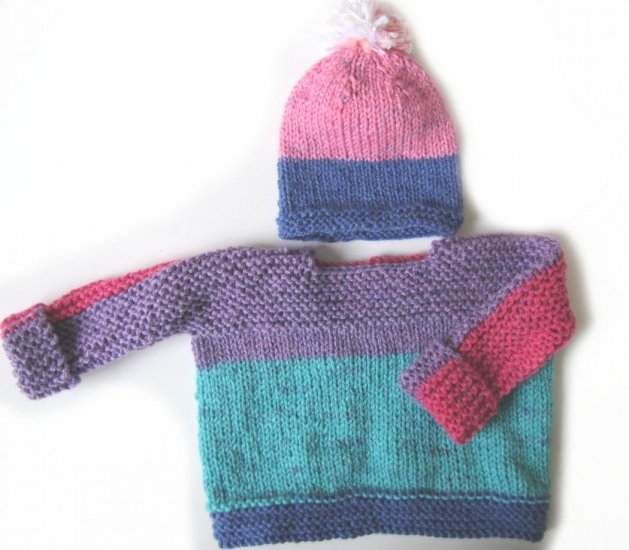 KSS Pink/Grey Pullover Sweater with a Hat 12 Months