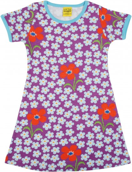 "DUNS Organic Cotton ""Flower Amethyst\"" Short Sleeve Dress (98cm/2-3Yrs)"