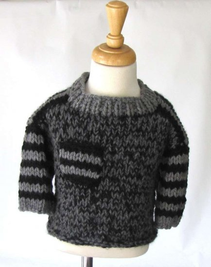 KSS Heavy Black and Grey Colored Acrylic Sweater (3-4 Years)