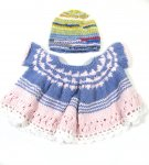 KSS Crocheted Blue/Pink Cotton Baby Dress and Hat 6 Months