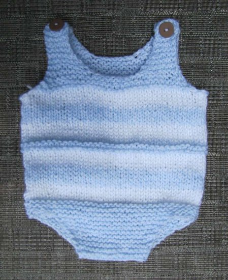 KSS Acrylic Light Blue Striped Sleeveless Onesie 6 Months