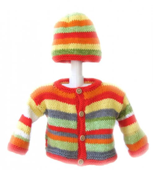 KSS Sunrise Striped Sweater/Jacket with a Hat 9 Months