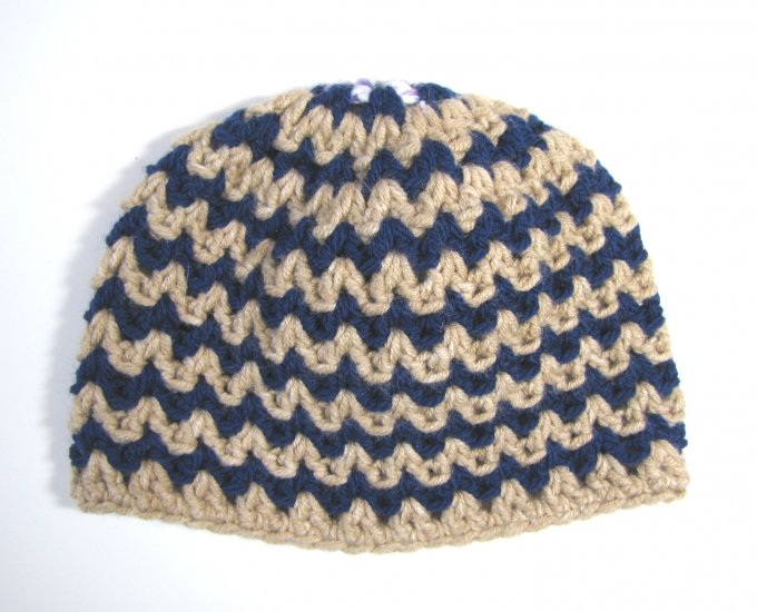 "KSS Navy Blue & Wheat Striped Colored Cap 15"" (3 Months)"