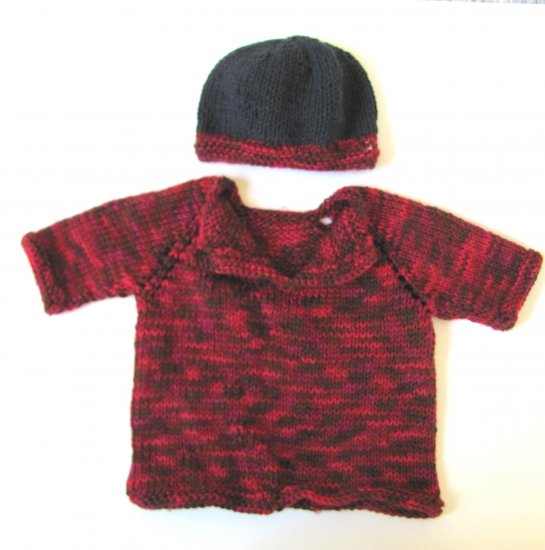 KSS Red/Black Soft Pullover Baby Sweater with a Hat (24 Months) SW-943