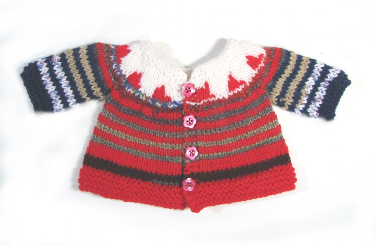 KSS Red/White Stripe Sweater/Cardigan (6 Months)