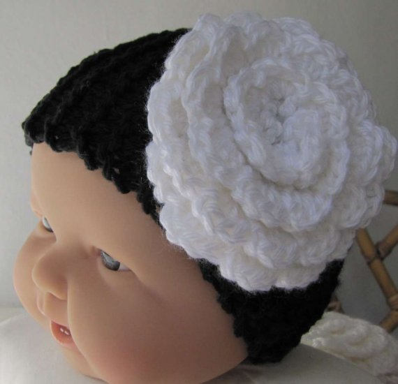 "KSS Black Cotton Headband White Flower 12-15"" (0-12 Months)"