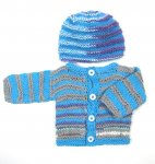 KSS Striped Multicolored Baby Sweater/Cardigan & Hat (6 Months) KSS-SW-845-AZ