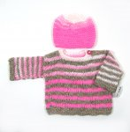 KSS Pink/Grey Soft Pullover Sweater with a Hat (6 Months) KSS-SW-633