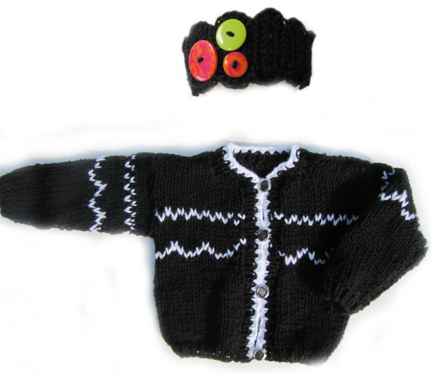 KSS Black/White Knitted Sweater/Jacket & Headband (2 Years)