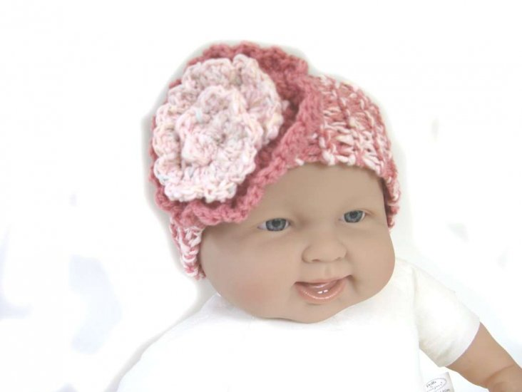 "KSS Dark/Light Pink Knitted Headband 12-16"" (3-24 Months)"