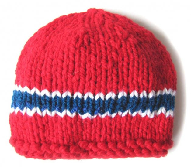 KSS Red Heavy Beanie with Norwegian Colors 12 inch (0 - 6 Months)