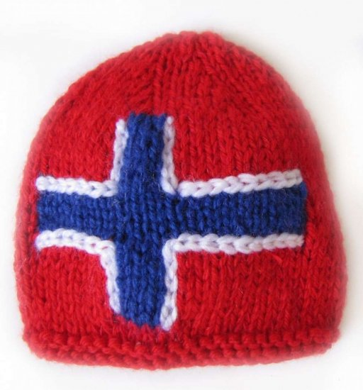 "KSS Red Small Beanie with a Norwegian Flag 12 - 14"" (0 -6 Months)"