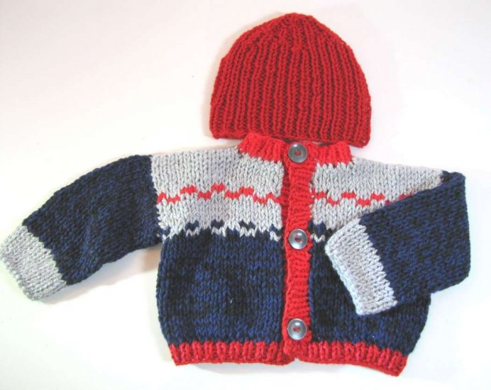 KSS Grey/Navy Knitted Sweater/Jacket and Hat (18 Months)