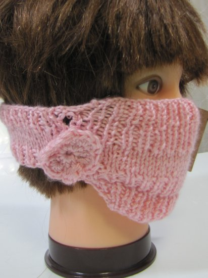 KSS Pink Around Head Knitted Lined Face Mask 1-5 Years