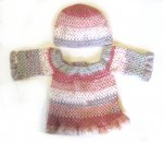 KSS Crocheted Dark red/Grey Cotton Dress & Hat 12 Months