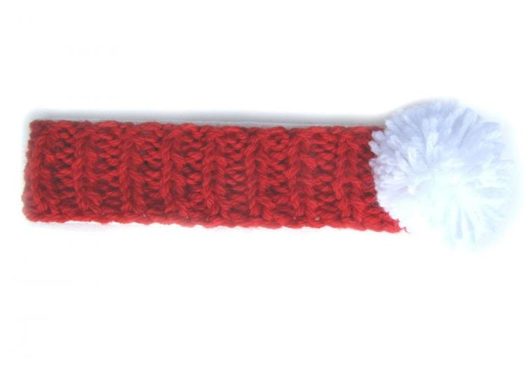 KSS Red Heavy Headband with a White Pom-pom (0 - 2 Years)
