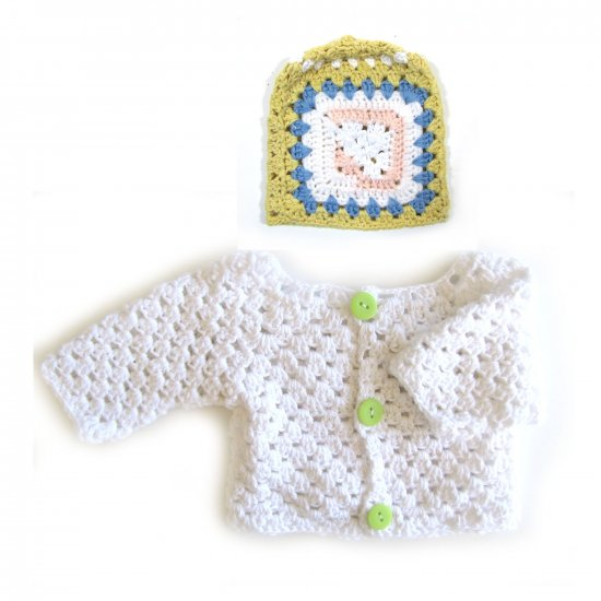 KSS White Cotton Sweater/Cardigan & Hat 3 Months