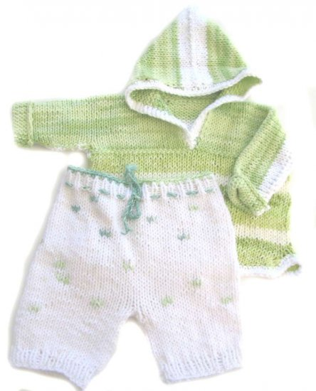 KSS Light Green and White Cotton Sweater and Pants18 Months