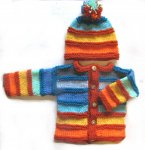 KSS Rainbow Sweater/Cardigan with a Hat (6 - 9 Months) KSS-SW-725-AZ