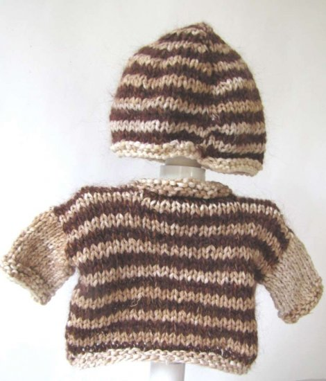 KSS Beige/Brown Sweater/Cardigan with a Hat (3 Months)