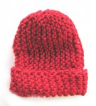 "KSS Red Ribbed Beanie 11"" (newborn)"