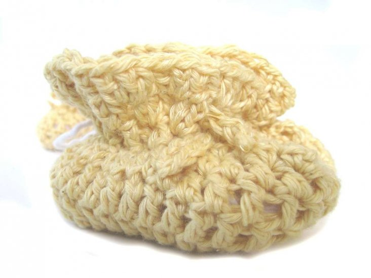 KSS Yellow Cotton Crocheted Booties (3-6 Months) - Click Image to Close