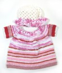KSS Handmade Purple/Pink Cotton Baby Dress and Hat 6 Months