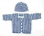 KSS Blue/White Cotton Sweater/Cardigan with a Hat (6 Months) KSS-SW-888-ET
