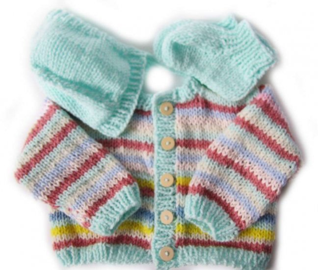 KSS Pastel Stripe Sweater and Hat set (12 - 18 Months)