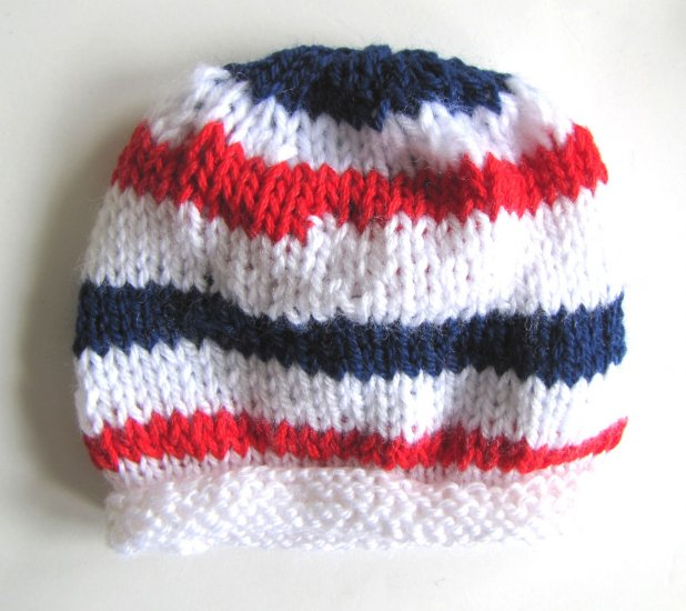 "KSS White Beanie with a US Colors 14"" (6-18 Months)"