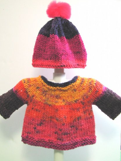 KSS Colorful Pullover Sweater with a Pom Pom Hat (9 Months)